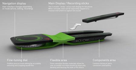 Концепт «скручивающегося» смартфона Ondo для записи и редактирования звука